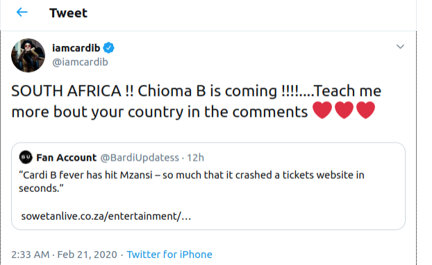 U.S. Rapper Cardi B Can't Wait to Perform in South Africa