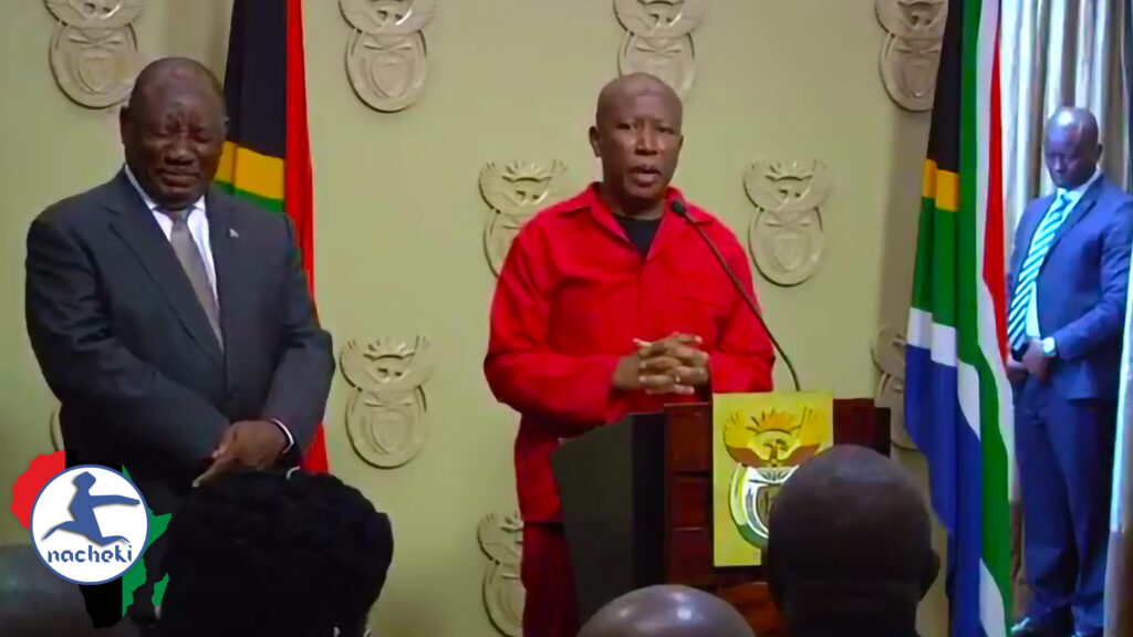 SA Presidents Giggles as Malema Threatens South Africans not to Take Advantage of Crisis