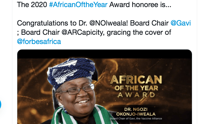 Another First for Okonjo-Iweala, the 2020 African of the Year