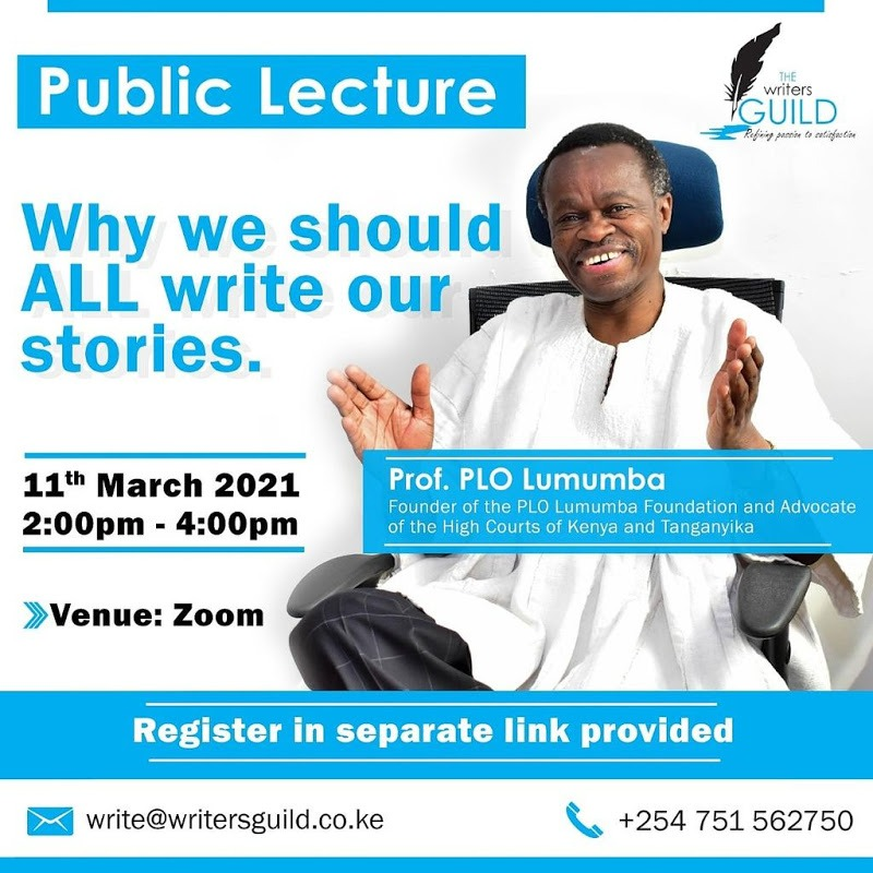 Public Lecture By Prof. PLO Lumumba at Writers Guild Kenya Open Day