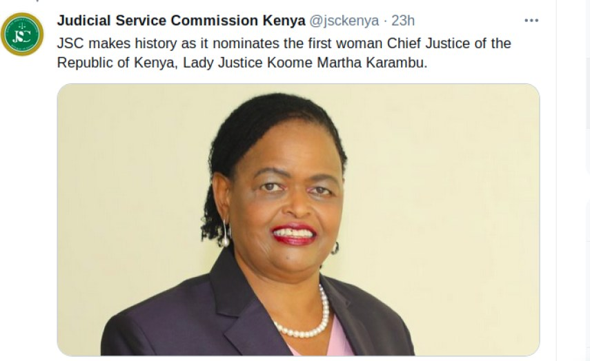 Martha Koome Nominated as Kenya's First Woman Chief Justice