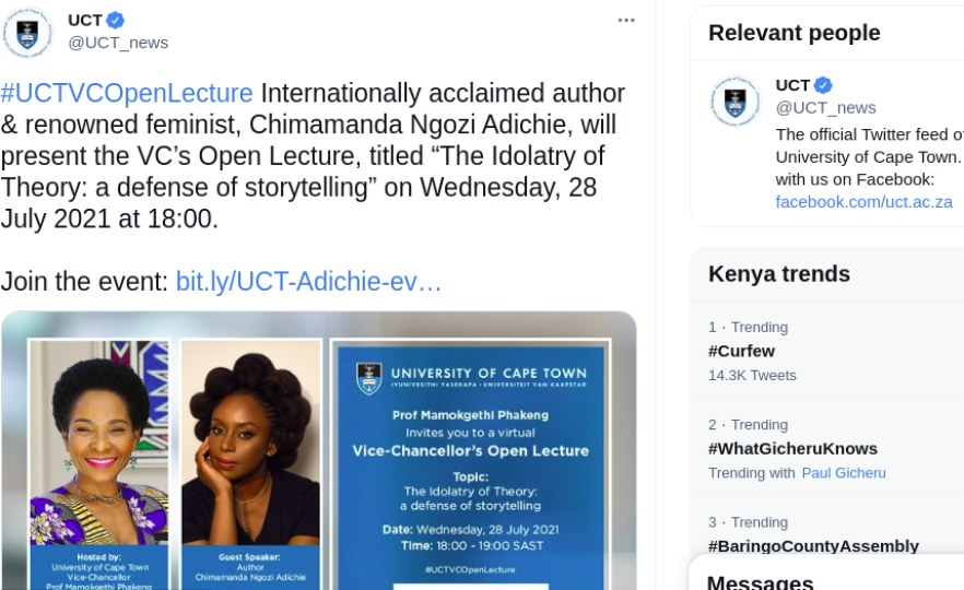 Adichie Speaks at UCT Lecture After Boycott Calls From Students' Council